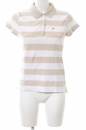 Tommy Hilfiger Polo Shirt cream-white striped pattern casual look