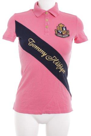 Tommy Hilfiger Polo-Shirt pink Schriftzug gedruckt Business-Look