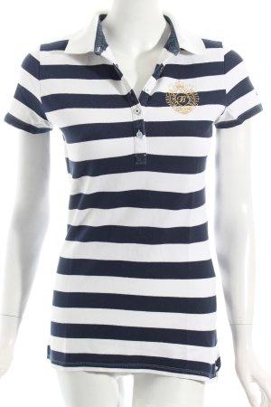 Tommy Hilfiger Polo-Shirt dunkelblau-weiß Streifenmuster Casual-Look