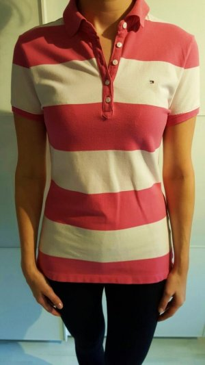 Tommy Hilfiger Polo Shirt white-magenta cotton