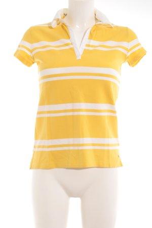 Tommy Hilfiger Polo shirt goud Oranje-wit gestreept patroon Britse uitstraling