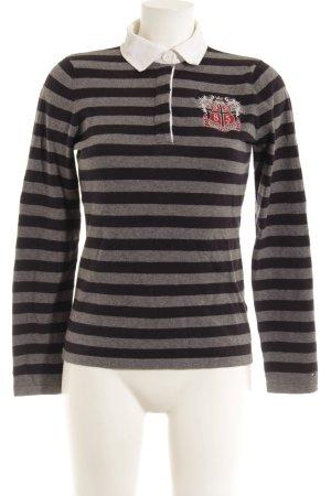 Tommy Hilfiger Polo-Shirt grau-dunkelblau Streifenmuster College-Look