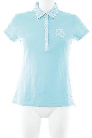 Tommy Hilfiger Polo bleu clair-blanc motif à carreaux style décontracté
