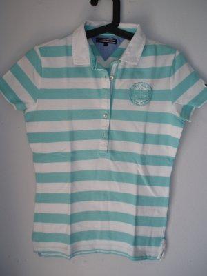 Tommy Hilfiger Polo-Shirt in Gr. S, hellblau-weißes Streifenmuster