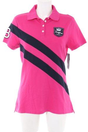 Tommy Hilfiger Polo-Shirt pink-schwarz Schriftzug gedruckt Casual-Look