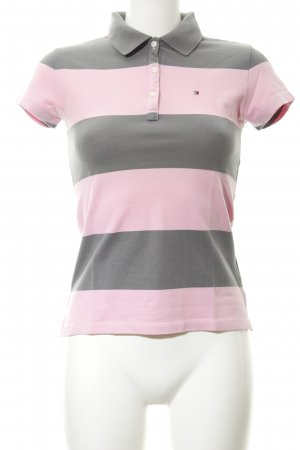Tommy Hilfiger Polo shirt roze-grijs gestreept patroon casual uitstraling