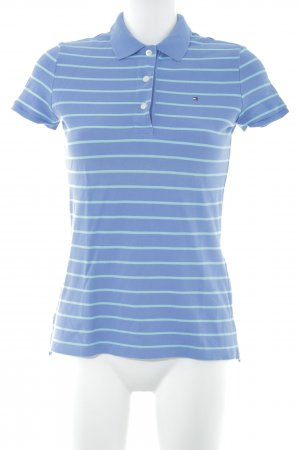 Tommy Hilfiger Polo-Shirt stahlblau-türkis Streifenmuster Casual-Look