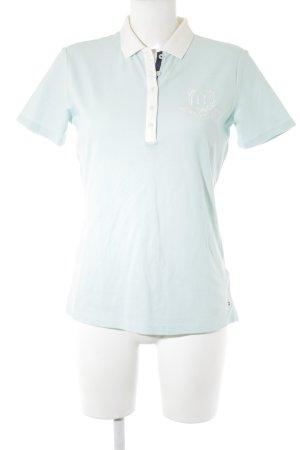 Tommy Hilfiger Polo-Shirt türkis-weiß Schriftzug gestickt Casual-Look