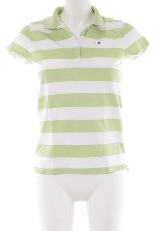 Tommy Hilfiger Polo-Shirt weiß-blassgrün Streifenmuster Casual-Look