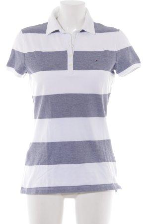 Tommy Hilfiger Polo blanc-bleu foncé motif rayé style décontracté
