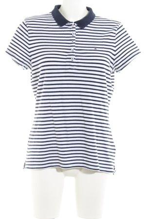 Tommy Hilfiger Polo-Shirt weiß-dunkelblau Streifenmuster Elegant
