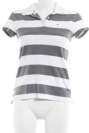 Tommy Hilfiger Polo-Shirt weiß-grau Streifenmuster Casual-Look
