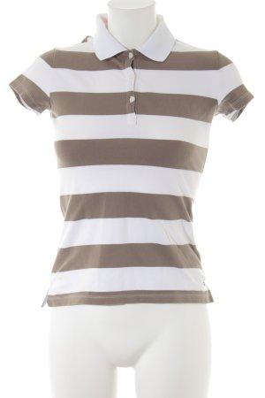 Tommy Hilfiger Polo-Shirt weiß-hellbraun Streifenmuster Casual-Look