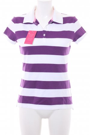 Tommy Hilfiger Polo-Shirt weiß-lila Streifenmuster Casual-Look