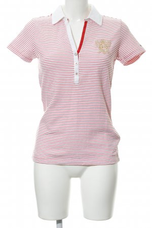 Tommy Hilfiger Polo-Shirt weiß-neonrot Streifenmuster Casual-Look