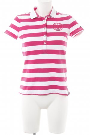 Tommy Hilfiger Polo-Shirt weiß-pink Streifenmuster Casual-Look
