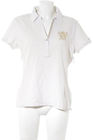 Tommy Hilfiger Polo-Shirt weiß-sandbraun Streifenmuster Casual-Look