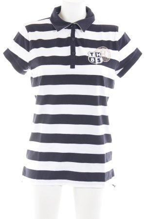 Tommy Hilfiger Polo-Shirt weiß-schwarz Streifenmuster klassischer Stil