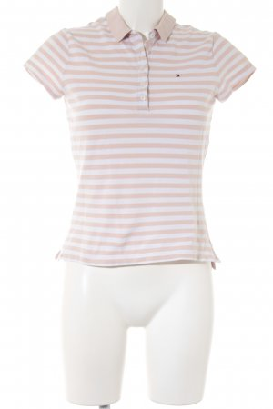 Tommy Hilfiger Polo-Shirt wollweiß-altrosa Streifenmuster Casual-Look