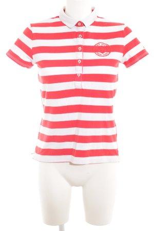 Tommy Hilfiger Polo-Shirt ziegelrot-wollweiß Streifenmuster Casual-Look