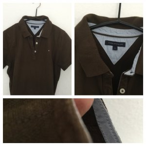 Tommy Hilfiger Polo Shirt black brown-bronze-colored cotton