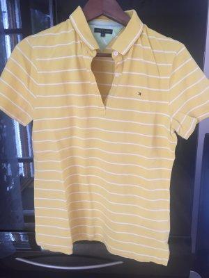 Tommy Hilfiger Poloshirt gelb mit weißen Streifen Gr. XL