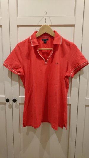 Tommy Hilfiger Poloshirt, lachsfarben, Größe L, weiße Nähte