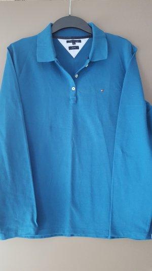 Tommy Hilfiger, Poloshirt, langarm, Slim Fit, XXL, stahlblau/ petrol