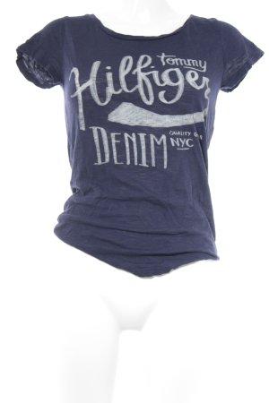 Tommy Hilfiger Camicia fantasia blu scuro-bianco caratteri stampati stile casual