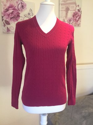 Tommy Hilfiger Cable Sweater raspberry-red cotton