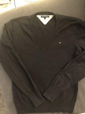 Tommy Hilfiger Jersey con cuello de pico negro