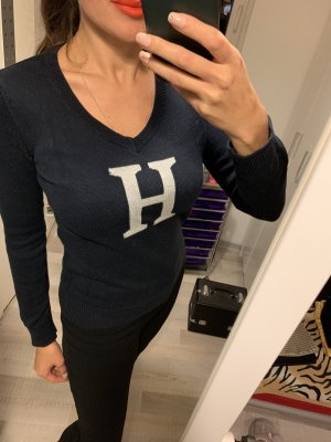 Tommy Hilfiger V-Neck Sweater white-dark blue