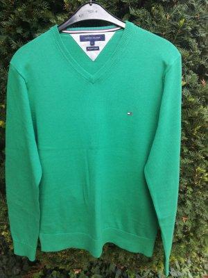 Tommy Hilfiger Pullover Longsleeve grün V-Ausschnitt Gr. L