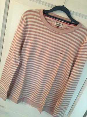 Tommy Hilfiger Pullover rosa / weiß Streifen Gr. L