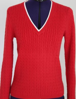 TOMMY HILFIGER Pullover, Rot, Baumwolle, S