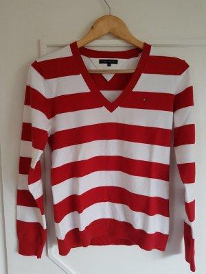 Tommy Hilfiger Pullover rot weiß gestreift V-Ausschnitt
