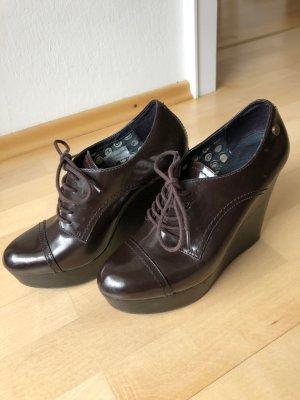 Tommy Hilfiger Escarpins à lacets brun foncé faux cuir