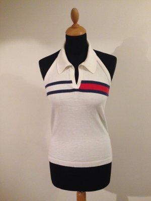 Tommy Hilfiger Retro Logo Strick edel S Neckholder Blusenkragen Kragen Baumwolle Cotton maritim Sommer Designer