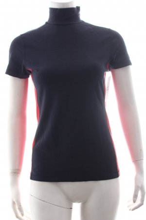 Tommy Hilfiger Rollkragenshirt dunkelblau-rot Colourblocking sportlicher Stil