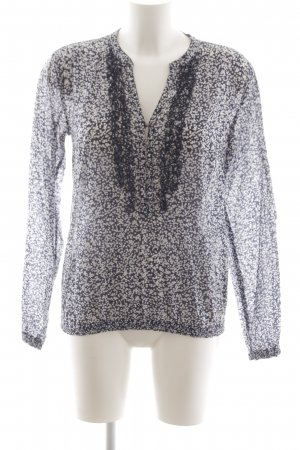 Tommy Hilfiger Ruche blouse donkerblauw-wit bloemenprint casual uitstraling