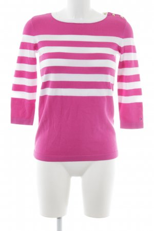 Tommy Hilfiger Rundhalspullover pink-weiß Streifenmuster Casual-Look