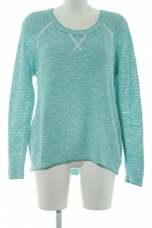 Tommy Hilfiger Kraagloze sweater turkoois-wit gestippeld casual uitstraling