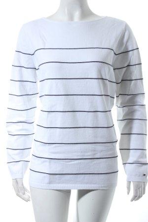 Tommy Hilfiger Rundhalspullover weiß-dunkelblau Streifenmuster Casual-Look