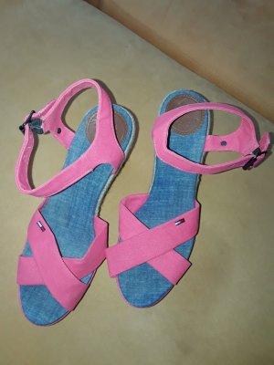 Tommy Hilfiger Sandalen mit Keilabsatz pink Gr.39 NEU
