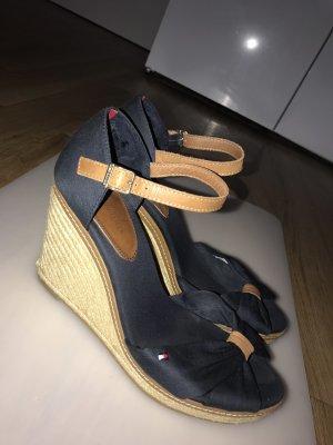 Tommy Hilfiger Wedge Sandals dark blue-blue textile fiber