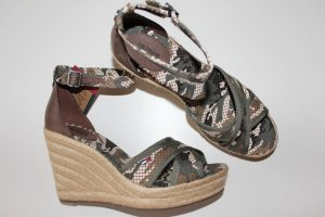 Tommy Hilfiger Wedge Sandals olive green-brown textile fiber