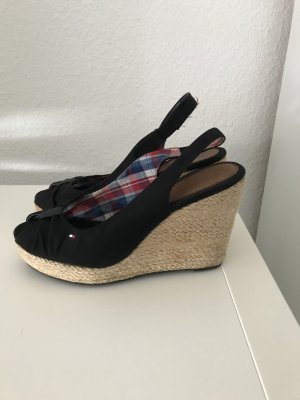 Tommy Hilfiger Wedge Sandals black cotton