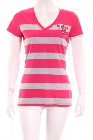 Tommy Hilfiger Shirt light grey-pink striped pattern athletic style