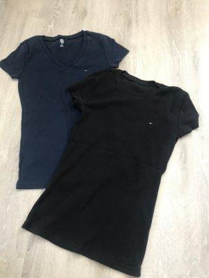 Tommy Hilfiger T-shirt zwart-donkerblauw Katoen