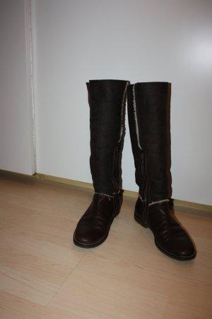Tommy Hilfiger Botas estilo militar marrón oscuro Cuero